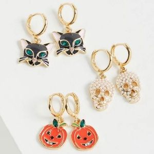 🆕 Mini 🎃💀Halloween Hoop Trio Earrings NWT